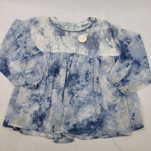 NWT Sheer bottom & sleeve tye dye smock blouse